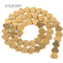 Natural Gold Love Heart Hematite Beads Round Loose Spacer For Jewelry Making 4mm-12mm Diy Bracelet Necklace 15 Wholesale