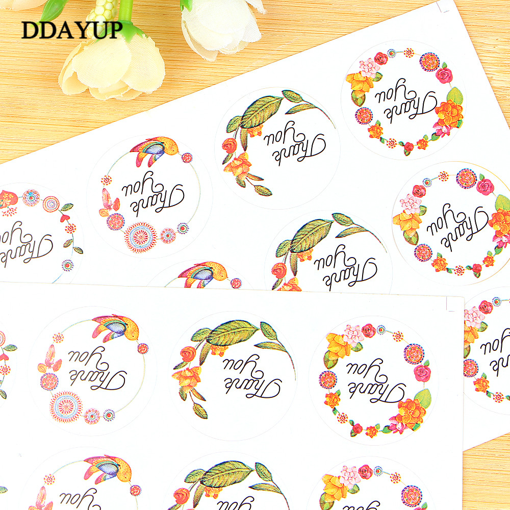 Купить с кэшбэком 120pcs/10sheets Sticker Flower Thank You Adhesive Baking Seal Sticker Cake Box Sealing Label Handmade