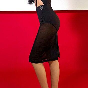 Professional Latin Dance Skirt Female Adult Sexy Mesh Split Skirts For Women'S Ballroom Samba Waltz Performance Skirt DWY2886