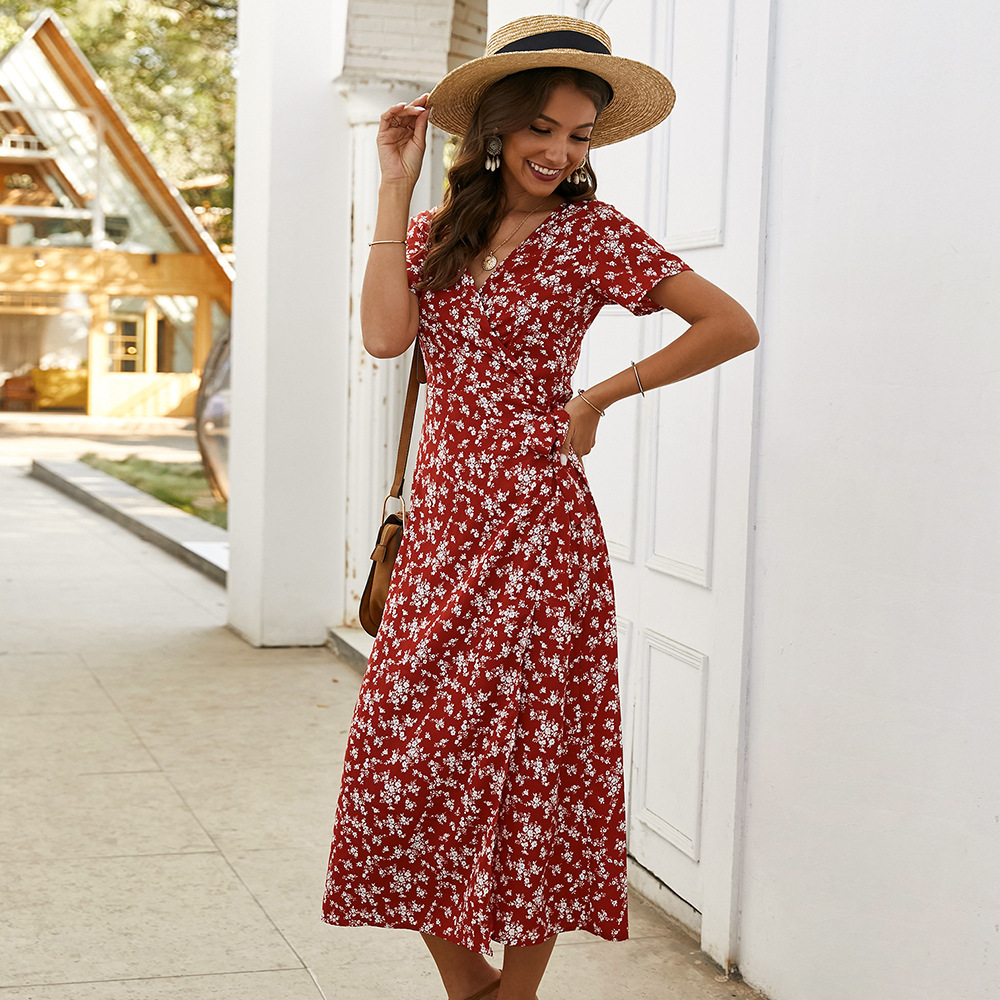 Elegant Floral Printed Boho Dress A-Line Ruffles V-Neck Short Sleeve Bow Sashes Ruched Midi Dress Women Casual Summer Dress 2020