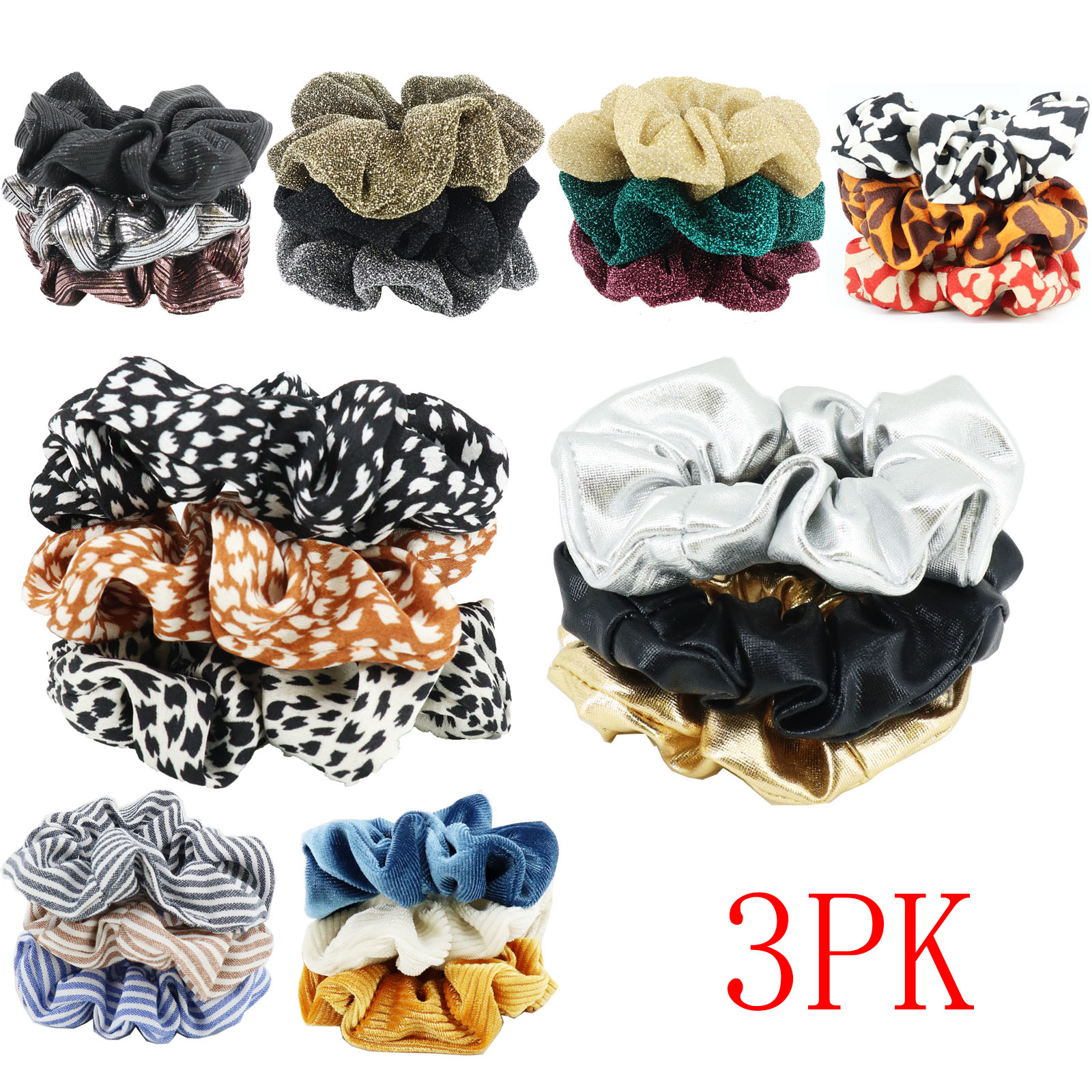 3PK Women Silky Print Small Scruchies Sets Hair Tie Girl Ponytail Holder Elastic Rubber Band Women Fashion Hair Accessories