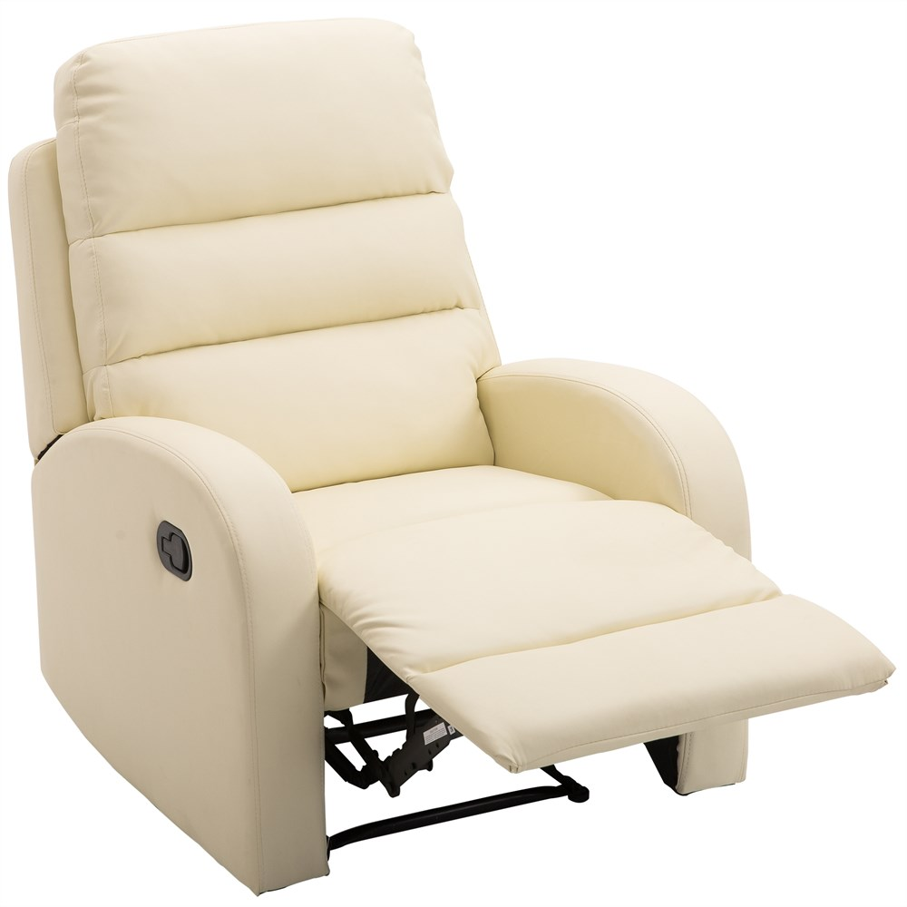 HOMCOM Relaxing Chair Recliner With Ottoman Faux Leather 80 × 91 × 102 Cm Cream