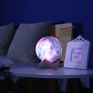 Image 2 - Księżyc w pełni Galaxy 3D Print gwiazda księżyc lampa kolorowa zmiana dotykowy USB LED lampka nocna Galaxy lampa wystrój domu kreatywny prezent Dropship