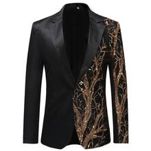 Однобортный сценический костюм с блестками, пиджак, мужские вечерние костюмы в стиле хип-хоп, модный драматический костюм Блейзер с цифровым принтом, черный EM184