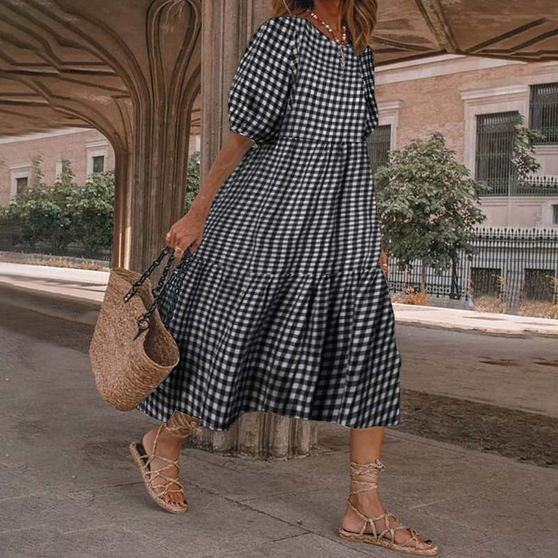 VONDA 2021 Women's Print Dresses Plus Size Women Plaid Dress Vintage Puff Sleeve Midi Dress Casual Bohemian Loose Holiday Robe