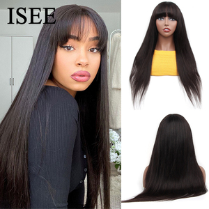 ISEEHAIR Machine Made Sew In Wig Human Hair Straight Wig Malaysian Straight Wig with Bang Natural Color For Women Glueless Wigs
