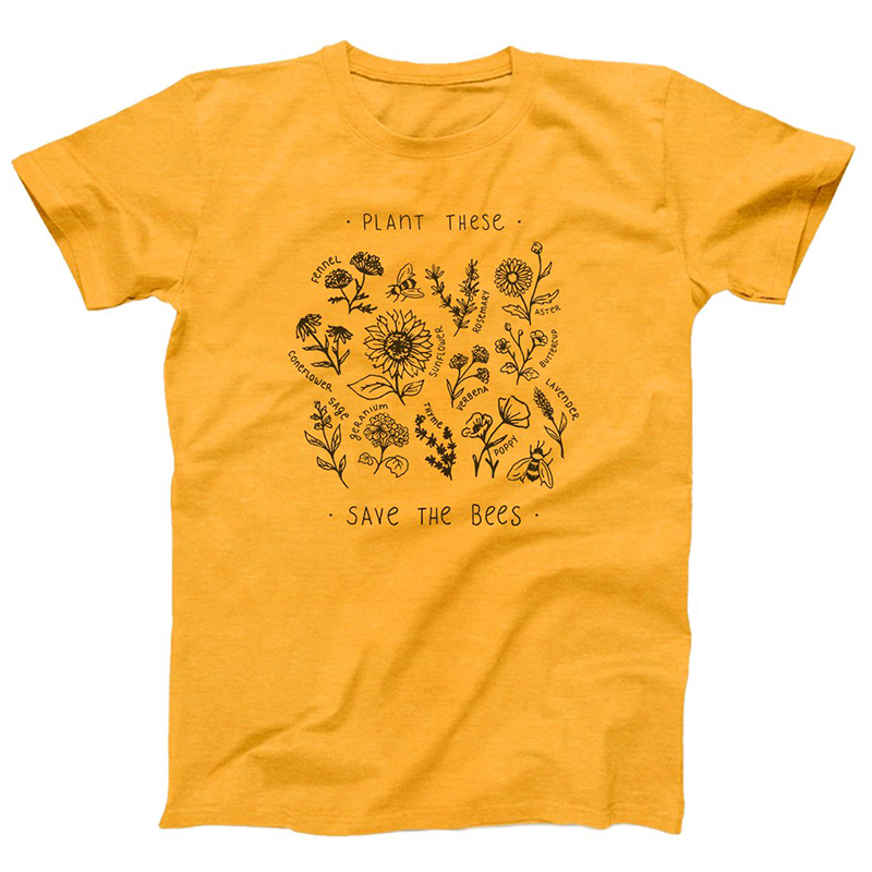 Plant These Save The Bees Sunflower T-shirt Women T Shirts Graphic Tees Summer Tops Girl World Bee Day Save The Human