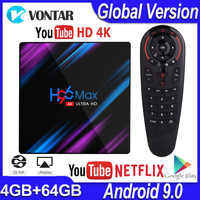 H96 MAX RK3318 Android TV BOX Android 9.0 Smart TV BOX 4GB RAM 32G/64G ROM Google Assistant vocal Play Store Netflix Youtube 4K