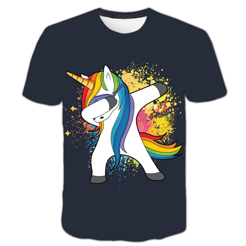 Baby Girls T-shirt 4 5 6 7 8 9 10 11 12 13 14 Years Unicorn Kids T Shirt Children Clothes Summer Unicorn T shirts Girl Tops Tee 20