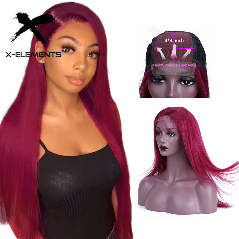 Brazilian Straight Lace Closure Human Hair Wigs 10-22 Inches Pre Plucked with Baby Hair 4x4 Closure Wig Non-remy Human Hair Wigs