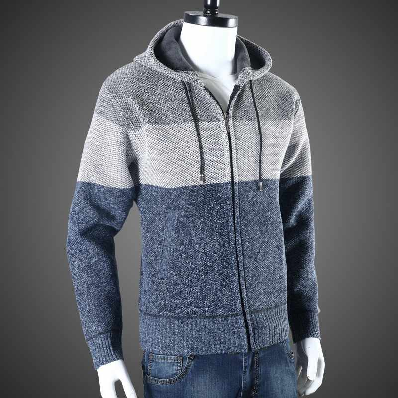 Hoge Straat Mannen Hooded Korte Jas Casual Truien Herfst Dikke Warme Breien Vest Truien 2020 Nieuwe Lange Mouw Bovenkleding