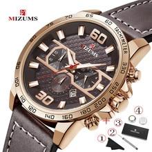 цена на MIZUMS Top Brand Luxury Mens Watches Male Clocks Date Sport Military Clock Leather Strap Quartz Business Timing Men Watch Gift