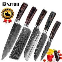 XITUO מטבח סכיני נירוסטה דמשק לייזר דפוס סכין פאקה עץ ידית פירות ירקות בשר בישול כלים Accessorie