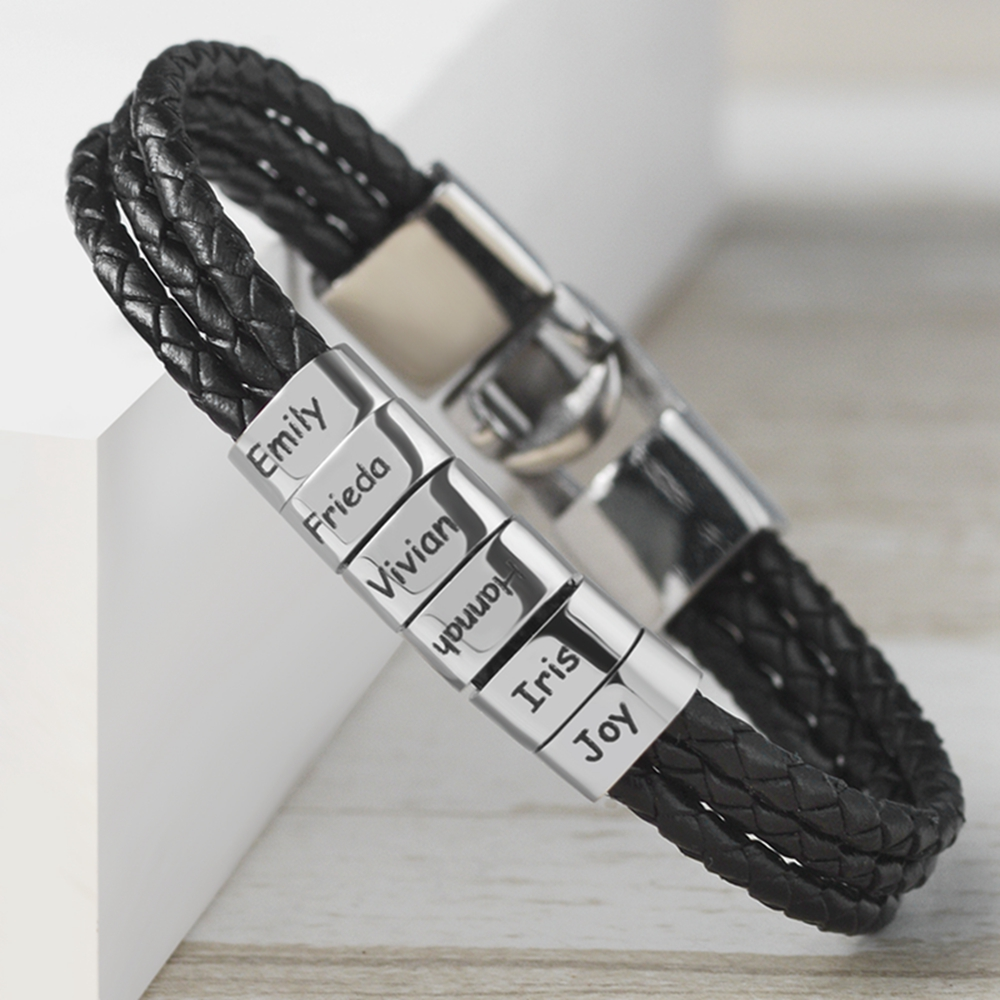 Hand Woven Multi layer Pulseras Para Hombre Stainless Steel Braided Leather Bracelet 6pcs Name Engraved Jewelry for Mens Jewelry Customized Bracelets  - AliExpress