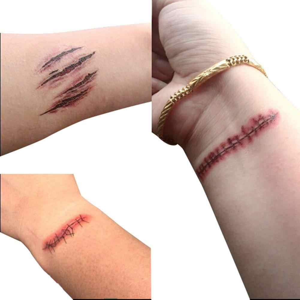 Etiqueta provisória da tatuagem à prova dwaterproof água imediato costurado ferida cicatrizes assustadoras conveniente etiqueta da tatuagem para a decoração do dia das bruxas nova etiqueta
