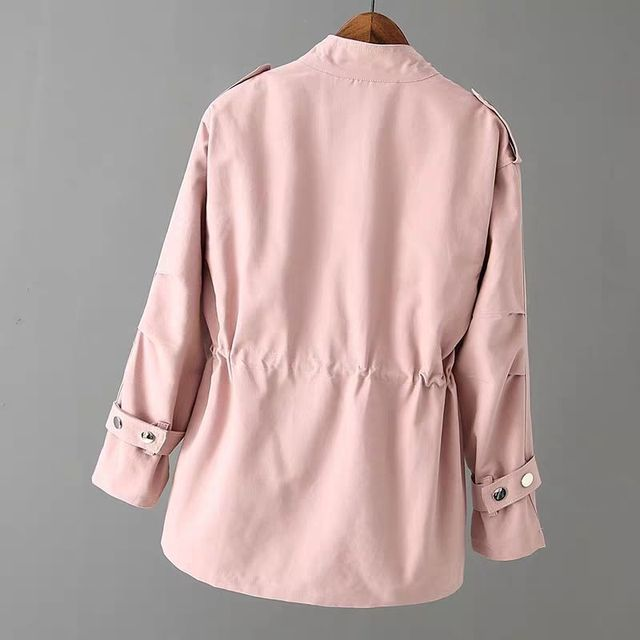 Autumn Peonfly Fashion 2021 Women's Casual Windbreaker Coat Stand Collar Overcoat Outerwear Coat Solid Color Lace Up Loose Coat 2