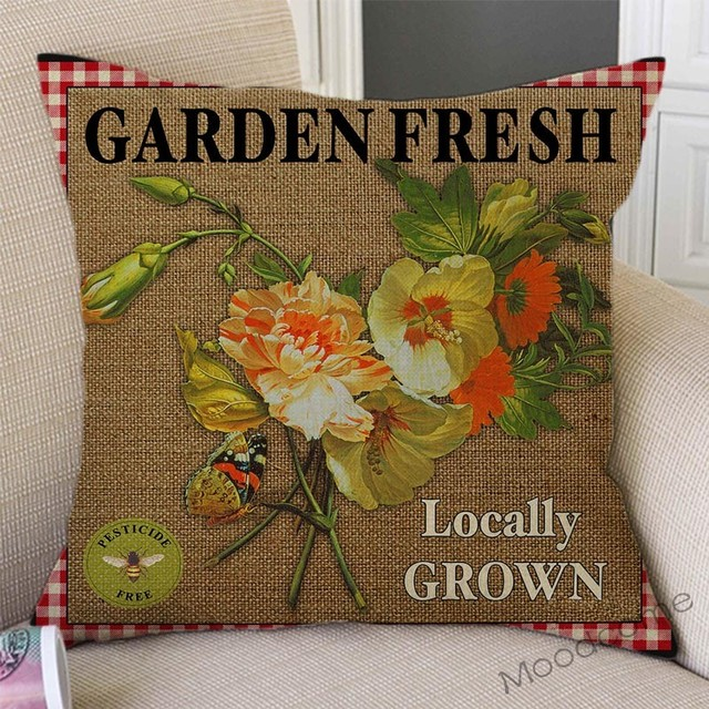 Vintage Farm Life Rooster Cow Vegetable Fruits Farm Fresh Art Home Decor Pillow Cover Relaxed Leisure Rural Life Cushion Covers 4