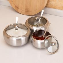 Sugar Salt Bowl Stainless Steel Seasoning Jar Condiment Spice Pot with Lid Spoon Durable Easy to Use Portable Useful