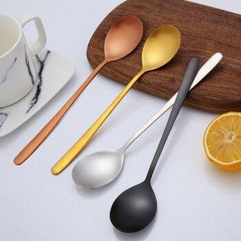304 Stainless Steel Spoon Long Handle Exquisite Korean Style Dinner Spoon Household restaurant Coffee Soup Stirred Tableware