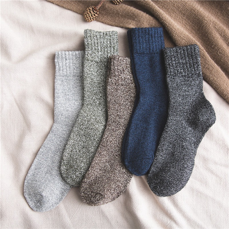 5 Pairs Winter Warm And Thickened Rabbit Wool Socks Men With Solid Color And Thread Happy Socks Male Gifts For Man 397