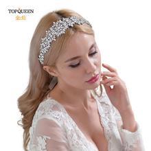 TOPQUEEN H319 Silver Bridal Headpieces Luxury Rhinestones Bride Headwear Forehead Wedding Headpieces Beading Bridal Headband