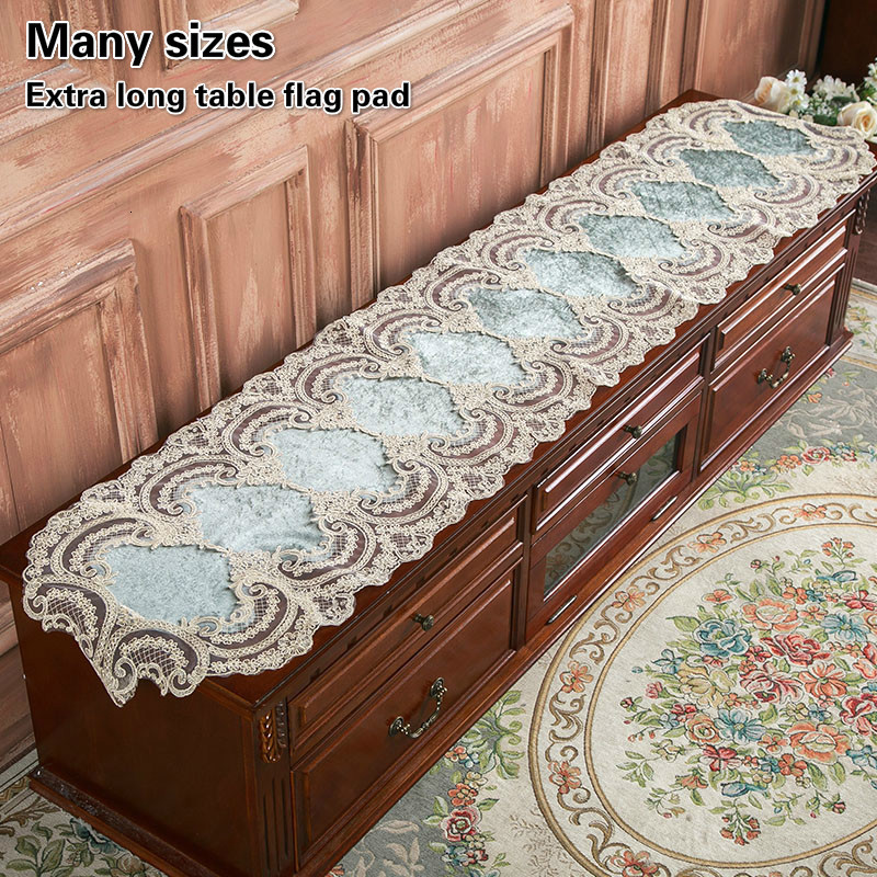 European Velvet Embroidery Lace Trim Long Table Runner Flag Pad Luxury Hotel Luxury Villa Large Furniture Tablecloth Decoration