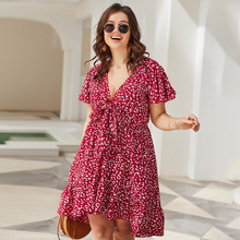 Chifirena Large Size Summer Women's Dress Beach Holiday Dresses Short Sleeve Sexy Floral Print Sundress Bow Party Dress Vestidos