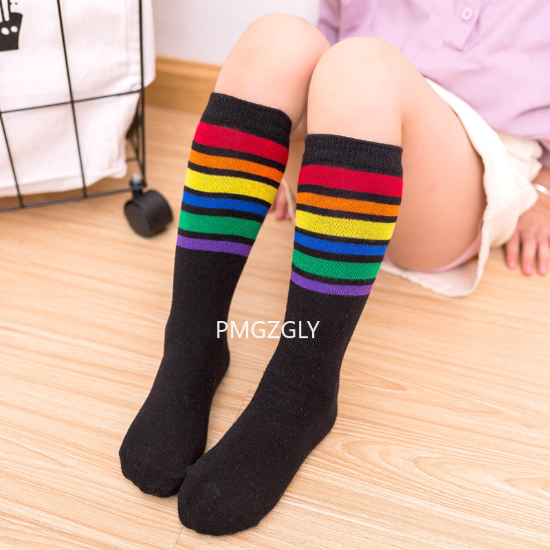 Children's Socks Rainbow Stripes Straight Without Heel Wild Big Child Cotton Socks High Tube Calf Parent-child Socks