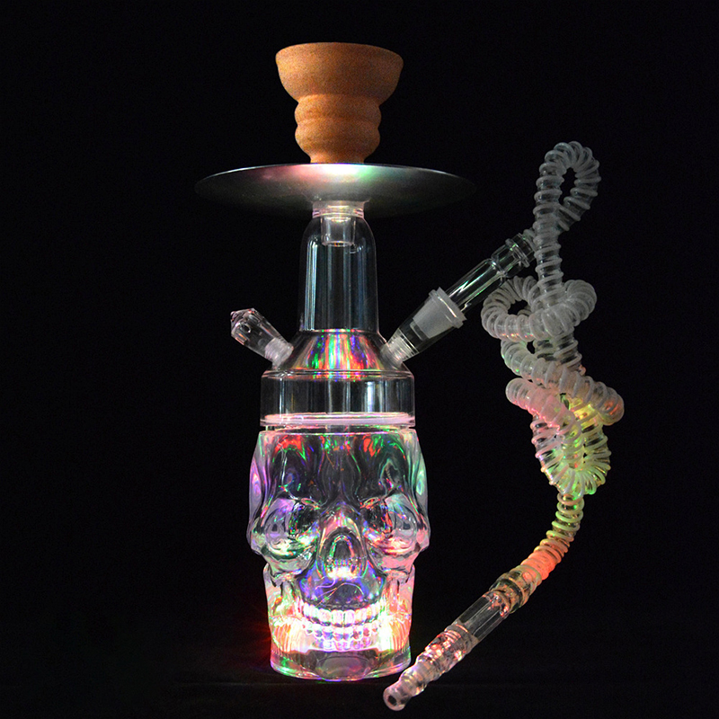 Newest unique Skull led shisha narguile hookah set colorful Hookah Narguile Shisha with bong weed Accessorie chicha electronique 1