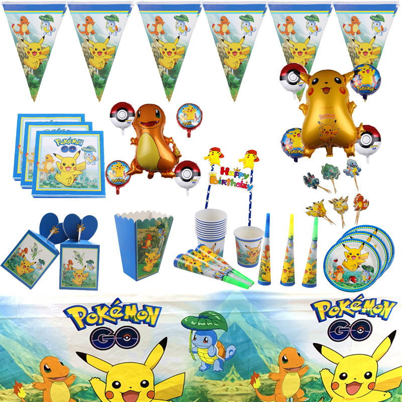 Pokemon Party Supplies Favors Set Pikachu Napkins Plates Tablecloth Cups Knives Forks Spoons Birthday Party Decoration Kids