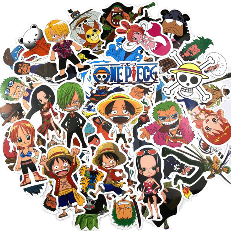 10/30/50pcs Pack Cartoon Anime ONE PIECE Sticker Waterproof PVC Skateboard Motorcycle Laptop Luggage Guitar Kids Toys Stickers