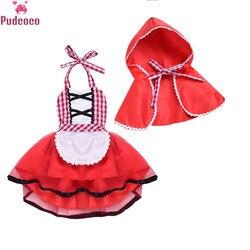 Recém-nascido cosplay bebê menina vestido tutu vermelho pouco equitação capuz com lobo traje prop traje meninas vestido de festa + capa manto outfit