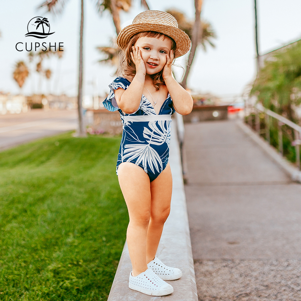 CUPSHE Blue Leafy Print V-neck One-piece Swimsuit For Toddler Girls 2020 Children Kids Girls Bathing Suits 2-12 Years