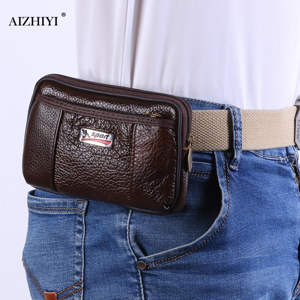 Fashion Cowhide Leather Men Wallet Multi-Function Purse Belt Bag Solid Color Retro Card Clutch Holder Casual Male Phone Pouch