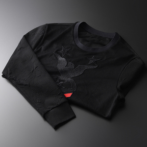 Image 2 - Minglu Jacquard Men Sweatshirts Luxury Fashion Embroidery Sweatshirt Male Plus Size 4xl Round Collar Slim Fit Sweatshirt Men