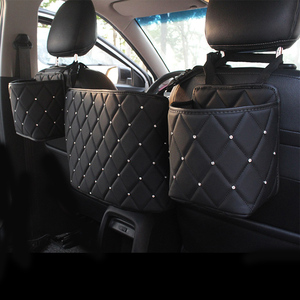 Crystal Rhinestone PU Leather Car Storage Bag Organizer Barrier of Backseat Holder Multi-Pockets Car Container Stowing Tidying
