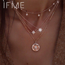 IF ME Vintage Multilayers Crystal Star Coin Necklaces for Women Bohemian Gold Color Chain Pendant Necklace Fashion Jewelry New