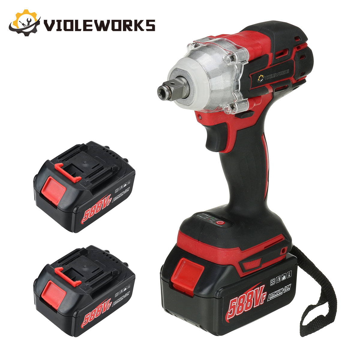 22800mAh 588VF Brushless Cordless Electric Impact Wrench 1/2 inch Wrench Power Tools Compatible For Makita Rechargeable Battery