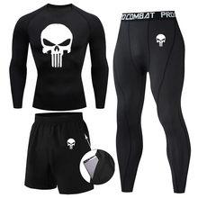 Compression MMA Rashguard Men's Jiu Jitsu t Shirt+Pants Muay Thai Shorts Rash Guard Skull Gym Men Bjj Boxing 3pcs/Sets clothing