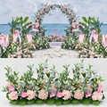 Artificial Flower Arrangement Wedding Background Arch Decoration Flower Wall DIY Wedding Road Leadership Wedding