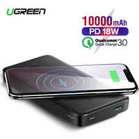 Ugreen banco de potencia 10000mAh portátil cargador rápido carga rápida 4,0 3,0 QC3.0 de carga inalámbrico Qi para iPhone 11 Xs 8 PD Poverbank