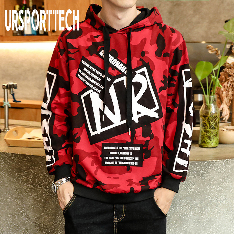 Autumn Men Camouflage Hoodies Long Sleeve Hooded Sweatshirt Male Hoodie Casual Hip Hop Streetwear Hoodie Homme Big Size M-4XL