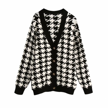 Spring Women Houndstooth Knitting Sweater Casual Female V Neck Long Sleeve Pullover Fashion Lady Loose Tops SW899 1