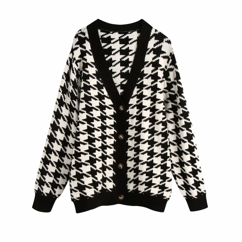 Spring Women Houndstooth Knitting Sweater Casual Female V Neck Long Sleeve Pullover Fashion Lady Loose Tops SW899