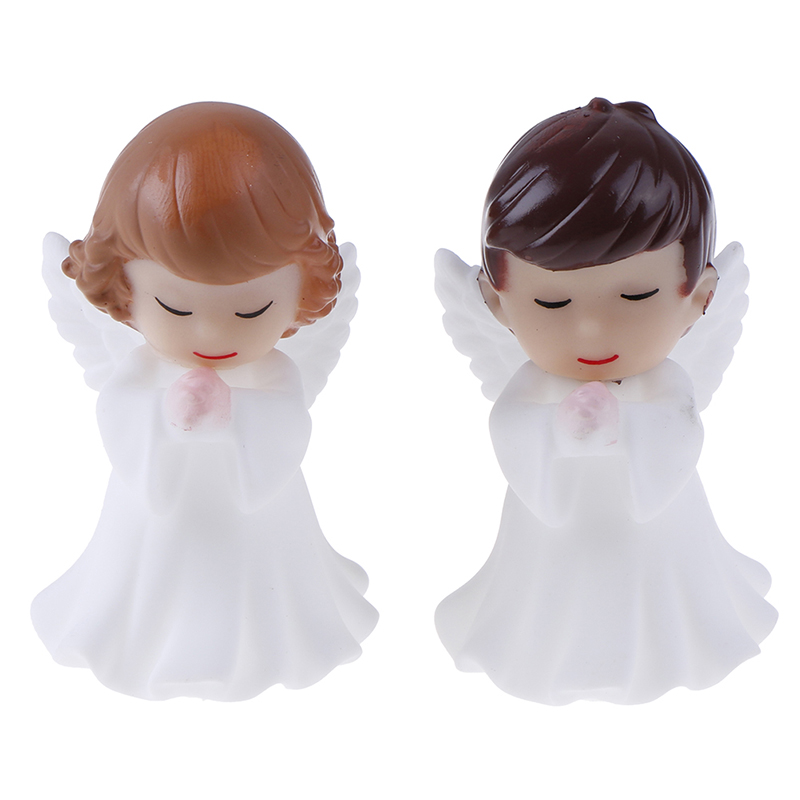 2 Pcs Angels Figurines Miniature Well Workmanship Odorless Sculpture Ornament Decoration For Desktop Car Garden Cake