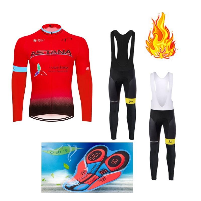 Spor ve Eğlence'ten Bisiklet Takımları'de Kış 2018 kırmızı TAKıM Uzun kollu Bisiklet JERSEY Bisiklet pantolon seti erkek Ropa Ciclismo Termal Polar bisiklet Maillot Culotte title=