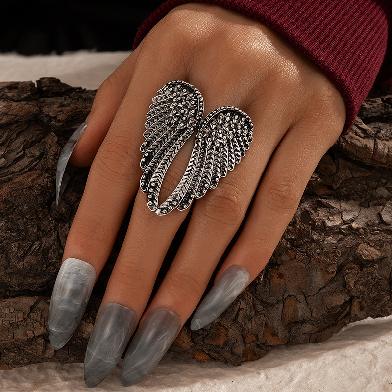 docona Vintage Silver Color Angel Wings Metal Rings for Women Punk Geometric Alloy Joint Midi Ring Gothic Jewelry кольца 17334