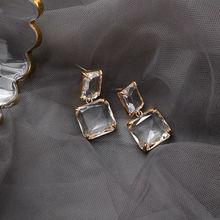 Koreański nowy styl luksusowe eleganckie błyszczące kwadratowe kryształowe kolczyki Dangle dla kobiet Party codzienna biżuteria tanie tanio EARS HIGH Ze stopu cynku CN (pochodzenie) TRENDY Moda Spadek kolczyki SQUARE Rhinestone Kobiety