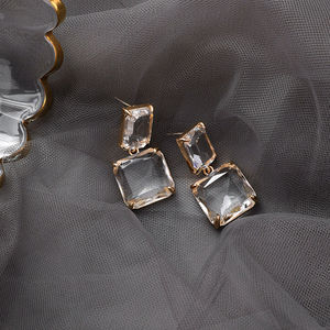 Korean New Style Luxury Elegant Shiny Square Crystal Dangle Earrings For Female Party Daily Jewelry