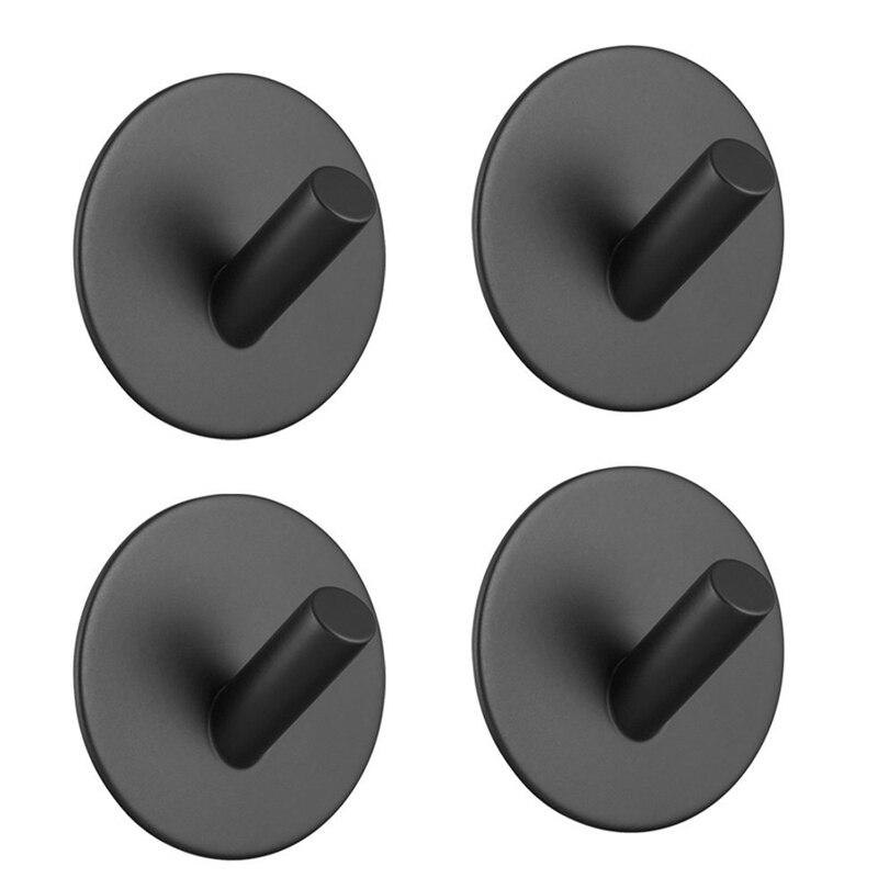 1PCS Stainless Steel Black Paste Strong Paste Sticker Hooks For Home Bathroom Kitchen Key Towel Hanger Holders
